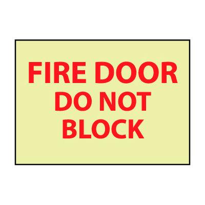 Glow Sign Rigid Plastic - Fire Door Do Not Block