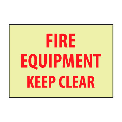 Glow Sign Rigid Plastic - Fire Equipment
