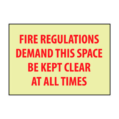 Glow Sign Rigid Plastic - Fire Regulations