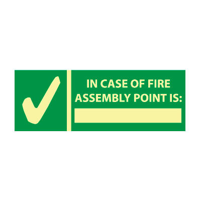 Glow Sign Rigid Plastic - In Case Of Fire Assembly
