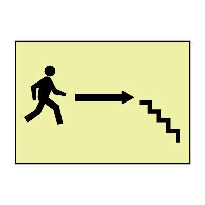 Glow Sign Rigid Plastic - Stairs Right Arrow Man
