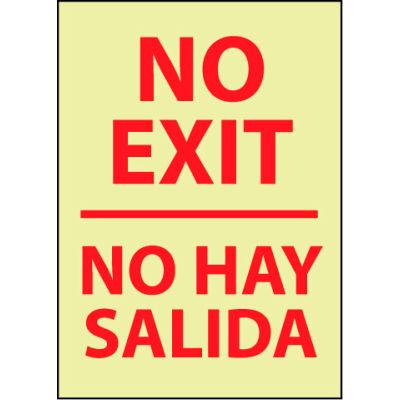 Glow Sign Rigid Plastic - No Exit/No Hay Salida Bilingual