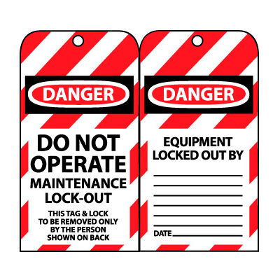 Lockout Tags - Do Not Operate Maintenance Lock-Out