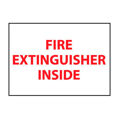 Fire Safety Sign - Fire Extinguisher Inside - Plastic