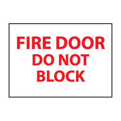 Fire Safety Sign - Fire Door Do Not Block - Plastic