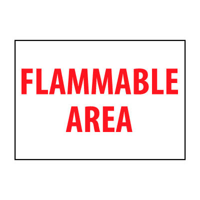 Fire Safety Sign - Flammable Area - Plastic