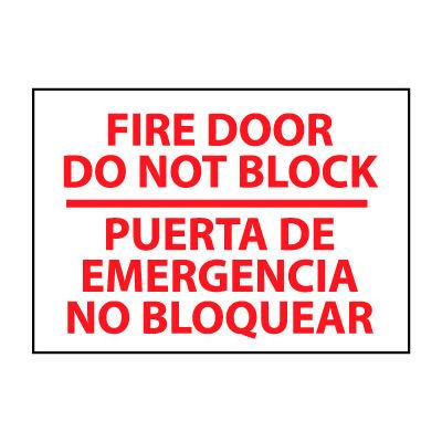 Bilingual Fire Sign - Fire Door Do Not Block Puerta De Emergencia No Bloquear