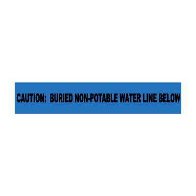 """Non-Detectable Underground Warning Tape - Caution Buried Non-Potable Water - 6""""W"""