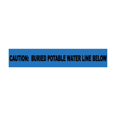 """Non-Detectable Underground Warning Tape - Caution Buried Potable Water - 6""""W"""