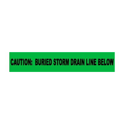 """Non-Detectable Underground Warning Tape - Caution Buried Storm Drain Below - 6""""W"""