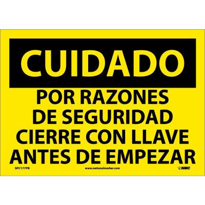 Spanish Vinyl Sign - Cuidado Por Razones De Seguridad Cierre Con Llave