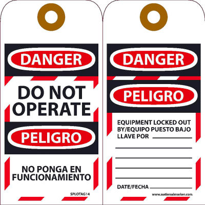 Bilingual Lockout Tags - Do Not Operate Equipment Tag-Out