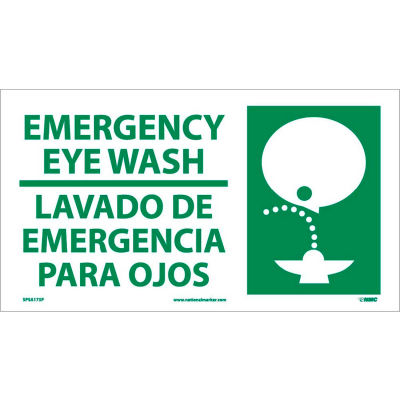 Bilingual Vinyl Sign - Emergency Eye Wash