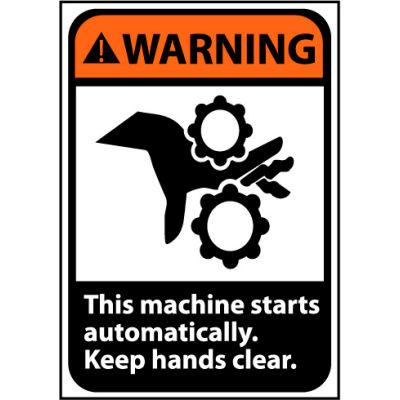 Warning Sign 14x10 Vinyl - Machine Starts Automatically