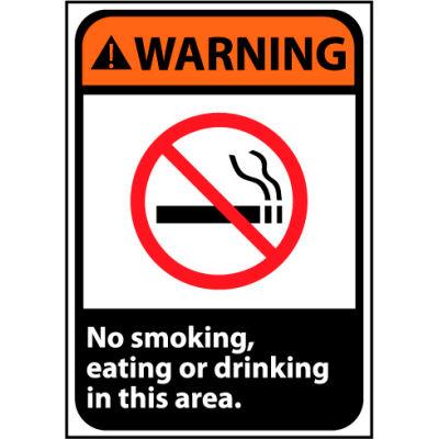 Warning Sign 14x10 Vinyl - No Smoking, Eating Or Drinking