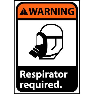 Warning Sign 10x7 Vinyl - Respirator Required