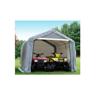 "12x12'3""x8'6"" Peak Style Shed 4-15"" Augers 1-3/8"" Frame - Grey"