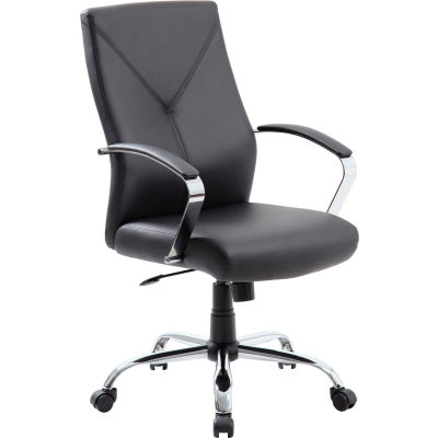 Boss Executive Chair with Arms - Leather - Mid Back - Black