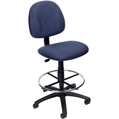 Boss Drafting Stool with Footring -Fabric - Blue