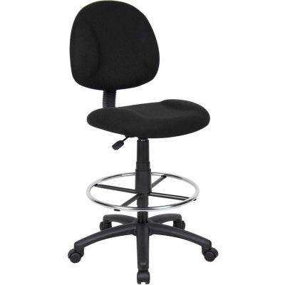Interion® Drafting Stool - Fabric - Black