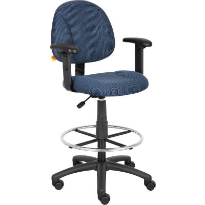 Boss Drafting Stool with Footring and Adjustable Arms -Fabric - Blue