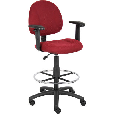 Boss Drafting Stool with Footring and Adjustable Arms -Fabric - Burgundy