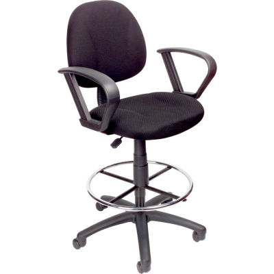 Boss Ergonomic Drafting Stool with Loop Arms and Foot Rest - Black