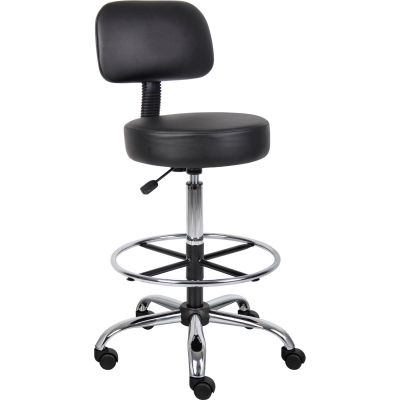Interion® Medical Stool with Backrest and Footring - Vinyl - Black
