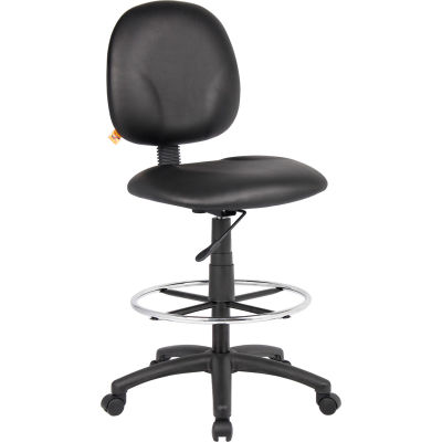 Interion® Drafting Stool with Footring - Vinyl - Black
