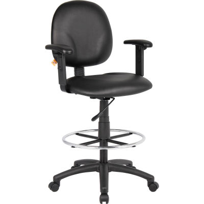 Interion® Drafting Stool with Arms and Footring - Vinyl - Black