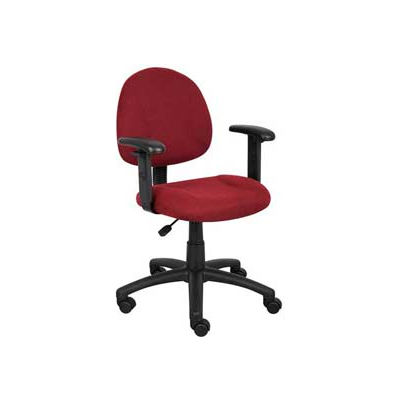 Boss Deluxe Posture Chair with Adjustable Arms Burgundy