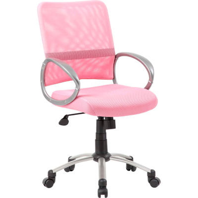 Boss Mesh Back Office Chair with Arms - Fabric - Mid Back - Pink