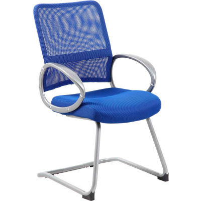Boss Mesh Back Guest Chair with Arms - Fabric - Mid Back - Blue