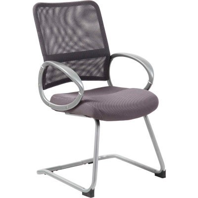 Boss Mesh Back Guest Chair with Arms - Fabric - Mid Back - Charcoal