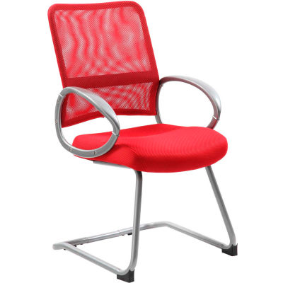 Boss Mesh Back Guest Chair with Arms - Fabric - Mid Back - Red