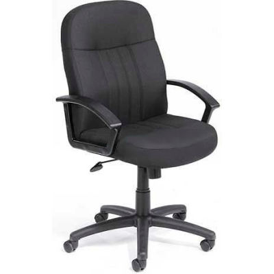 Boss Managers Office Chair with Arms - Fabric - Mid Back - Black