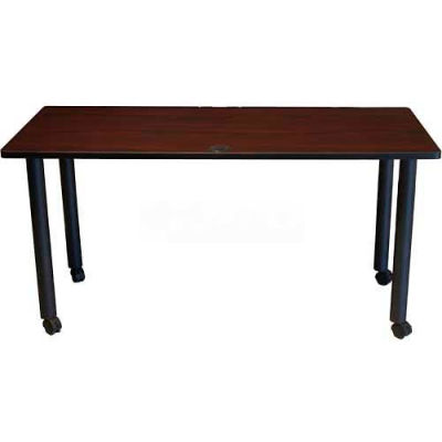 "Boss 48"" x 24"" Rectangular Training Table with Casters, Mahogany"