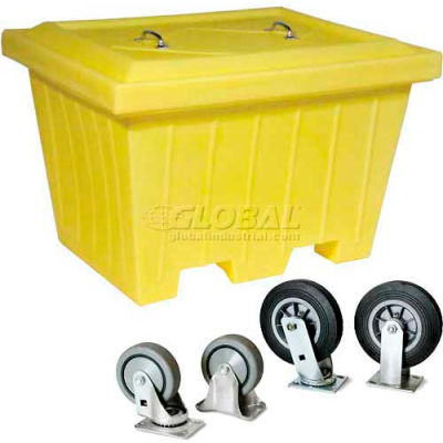 "Enpac 1531-YE X-Large Outdoor Storage Tote Combo w/ 8"" Wheels, 47-1/4""L x 51-1/2""W x 33""H, Yellow"
