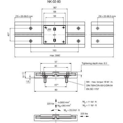 IGUS NS-01-80-500 500mm DryLin N 80mm Miniature Guide Rail