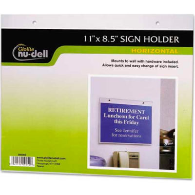 """Nu-Dell Horizontal Wall Sign Holder 5/16"""" x 11-1/8"""" Clear"""