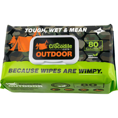 Crocodile Cloth® Biodegradable Outdoor Cleaning Cloth Wipes, 80 Wipes/Pack - Pkg Qty 8