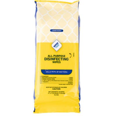 """WipesPlus® All Purpose Disinfecting Wipes, 7"""" x 7"""", Lemon Scent, 60 Wipes/Packet - Pkg Qty 12"""