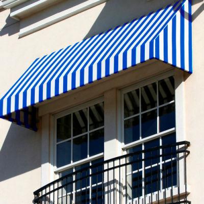 "Awntech CN34-6BBW, Window/Entry Awning 6' 4 -1/2""W x 4'D x 3' 8""H Bright Blue/White"