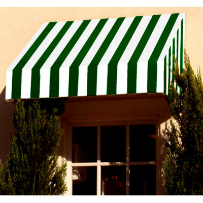 """Awntech CN33-6FW, Window/Entry Awning 6' 4-1/2""""W x 3'D x 3' 8""""H Forest Green/White"""
