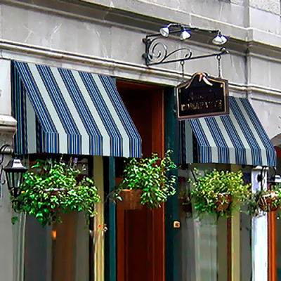 "Awntech RN22-6NGW, Window/Entry Awning 6' 4-1/2"" W x 2'D x 2' 7""H Navy/Gray/White"