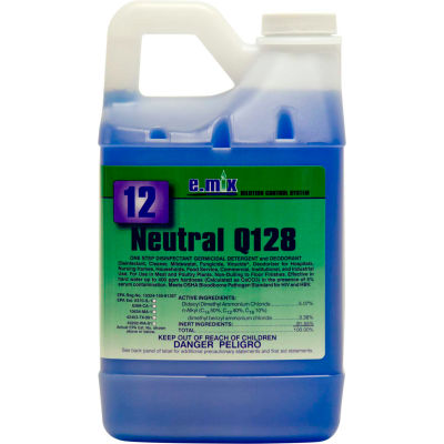#12 e.mix Neutral Q128 Disinfectant, 64 oz. Bottle, 4 Bottles