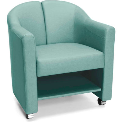 OFM Contour Series Mobile Club Chair, Anti-Microbial/Anti-Bacterial Vinyl, Aqua