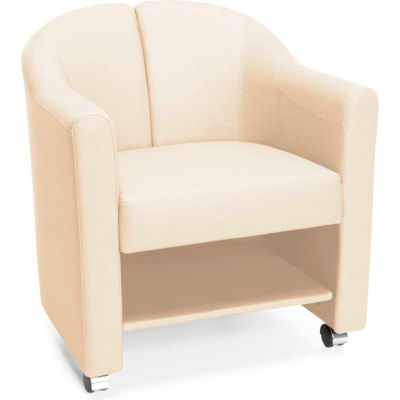 OFM Contour Series Mobile Club Chair, Anti-Microbial/Anti-Bacterial Vinyl, Linen