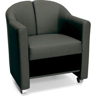 OFM Contour Series Mobile Club Chair, Anti-Microbial/Anti-Bacterial Vinyl, Midnight