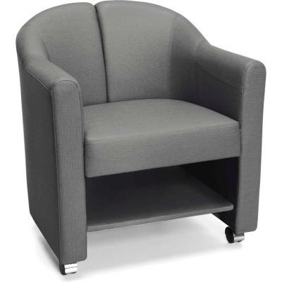 OFM Contour Series Mobile Club Chair, Anti-Microbial/Anti-Bacterial Vinyl, Slate